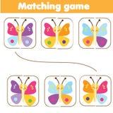 Passend kinderen onderwijsspel Gelijkedelen van kleurrijke vlinders Het leren symmetrie voor jonge geitjes en peuters royalty-vrije illustratie
