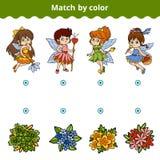 Passend spel voor kinderen Gelijke door kleur, feeën en bloemen vector illustratie