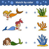Passend spel voor kinderen Gelijke door kleur, meerminnen Royalty-vrije Stock Fotografie