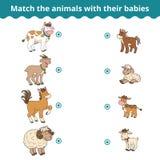 Passend spel voor kinderen, landbouwbedrijfdieren en babys Stock Foto