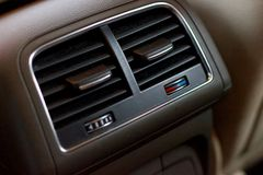 Passenger air conditioning controls on an automatic gearbox compact luxury crossov stock images