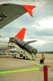 Passenger on air field Stock Photo