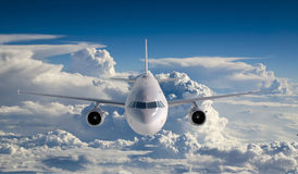 Passenger airbus a321  flying in the clouds Stock Photography