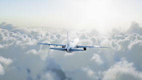 Passenger airbus flying in the clouds. Travel concept. 3d rendering. royalty free stock photography