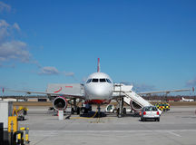 Passenger aircraft. Is being preparing for a flight Stock Images