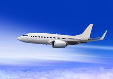 Passenger aircraft in cloud sky royalty free stock images