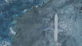 Passenger aircraft flying over the sea and the mountain at rain stock footage