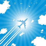 Passenger aircraft flying in sky vector illustration