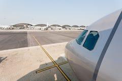 Passenger aircraft in Hong Kong International Airport Stock Images