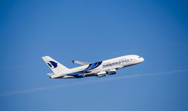 Passenger Aircraft in Malaysia Airlines Livery. Airbus A380. Airbus A380 in Malaysia Airlines Colours Stock Image