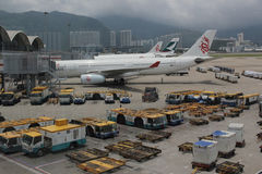 Passenger aircraft on the runway of Hong Kong. The Passenger aircraft on the runway of Hong Kong stock image