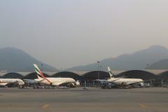Passenger aircraft on the runway of Hong Kong stock photo