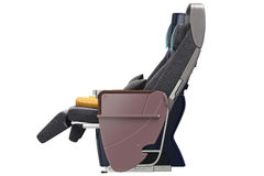 Passenger aircraft seats, side view. Passenger aircraft seats with leather armrests, side view. 3D graphic Royalty Free Stock Image