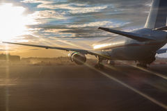 Passenger aircraft standing on runway Royalty Free Stock Photo