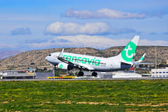 Passenger Aircraft Transavia Taking Off Stock Photography