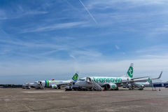 Passenger aircraft waiting to be boarded Royalty Free Stock Photo