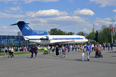 Passenger aircraft Yak-42 at the exhibition in Moscow Stock Photography
