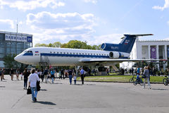Passenger aircraft Yak-42 at the exhibition in Moscow Royalty Free Stock Image