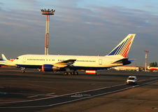Passenger aircrafts on the parking place Stock Photography