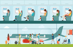 Passenger airline in airport terminal and Airline interior. Passenger airline in airport terminal and Airline interior with plane seat and airplane passengers Royalty Free Stock Images