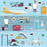 Passenger airline set in flat style. Civil aviation infrastructure elements. Jet plane, conveyor with luggage scanner, airport terminal, tourist man with Royalty Free Stock Photography