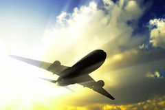 Passenger airliner in fly. Royalty Free Stock Images