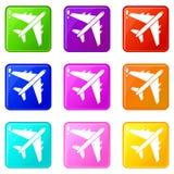 Passenger airliner set 9 Stock Photography