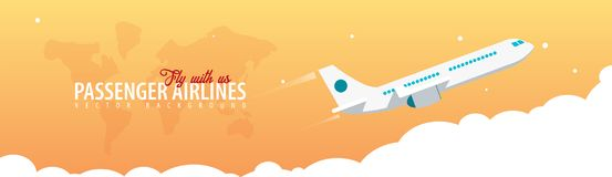Passenger Airlines. Clouds sky background with airplane. Vector illustration. Passenger Airlines. Clouds sky background with airplane. Vector illustration vector illustration