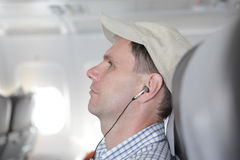 Passenger in the airplane Stock Image