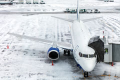 Passenger Airplane on airfield winter Stock Photography