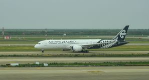 Passenger airplane at the airport. Shanghai, China - Jun 6, 2019. ZK-NZC Air New Zealand Boeing 787-9 Dreamliner taxiing on runway of Shanghai Pudong Airport PVG royalty free stock photography