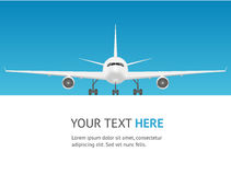 Passenger Airplane Card. Jet Front View. Vector Royalty Free Stock Image