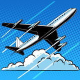 Passenger airplane in the clouds retro background Royalty Free Stock Images
