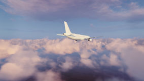 Passenger airplane in cloudy sky rear view Royalty Free Stock Photos