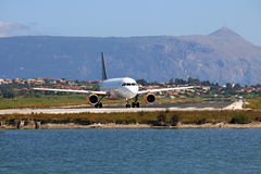 Passenger airplane on Corfu airport Royalty Free Stock Photography