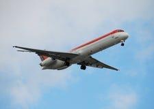 Passenger airplane in flight Stock Photography