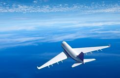Passenger airplane flying above clouds , 3D rendering. Boeing aircraft flying above clouds , 3D rendering royalty free illustration