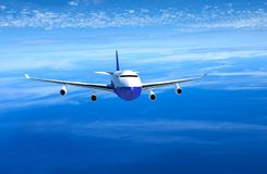 Passenger airplane flying above clouds front view , 3D rendering. Airplane flying above clouds front view , 3D rendering vector illustration