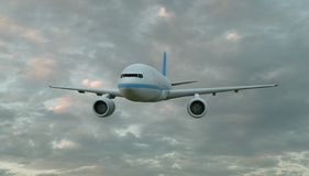 Passenger airplane flying above clouds front view , 3D rendering.  stock illustration