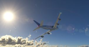 Passenger airplane flying in clouds stock illustration