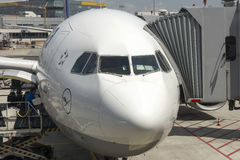 Passenger airplane front view Royalty Free Stock Photos