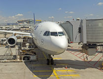 Passenger airplane front view Royalty Free Stock Images