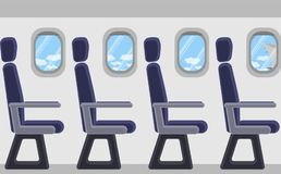 Passenger airplane from the inside. Portholes, seats. View of clouds and blue sky. royalty free illustration