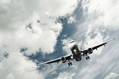 Passenger airplane landing Royalty Free Stock Image