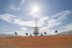 Passenger airplane landing. Royalty Free Stock Photos