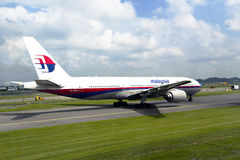 Passenger airplane of the Malaysian airline Royalty Free Stock Photography