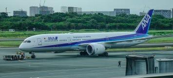 Passenger airplane at Manila Airport, Philippines stock images