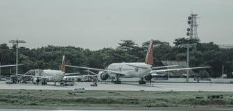 Passenger airplane at Manila Airport, Philippines stock image