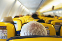 Passenger in the airplane Royalty Free Stock Photo