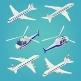 Passenger Airplane. Passenger Helicopter. Isometric Transport Royalty Free Stock Photo